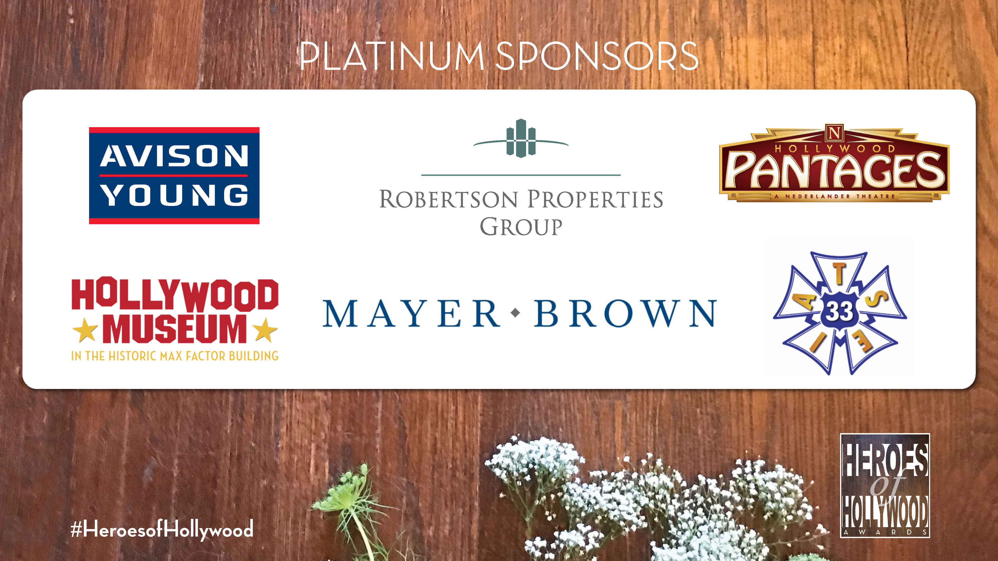 Platinum Level sponsors of Heroes of Hollywood 2018