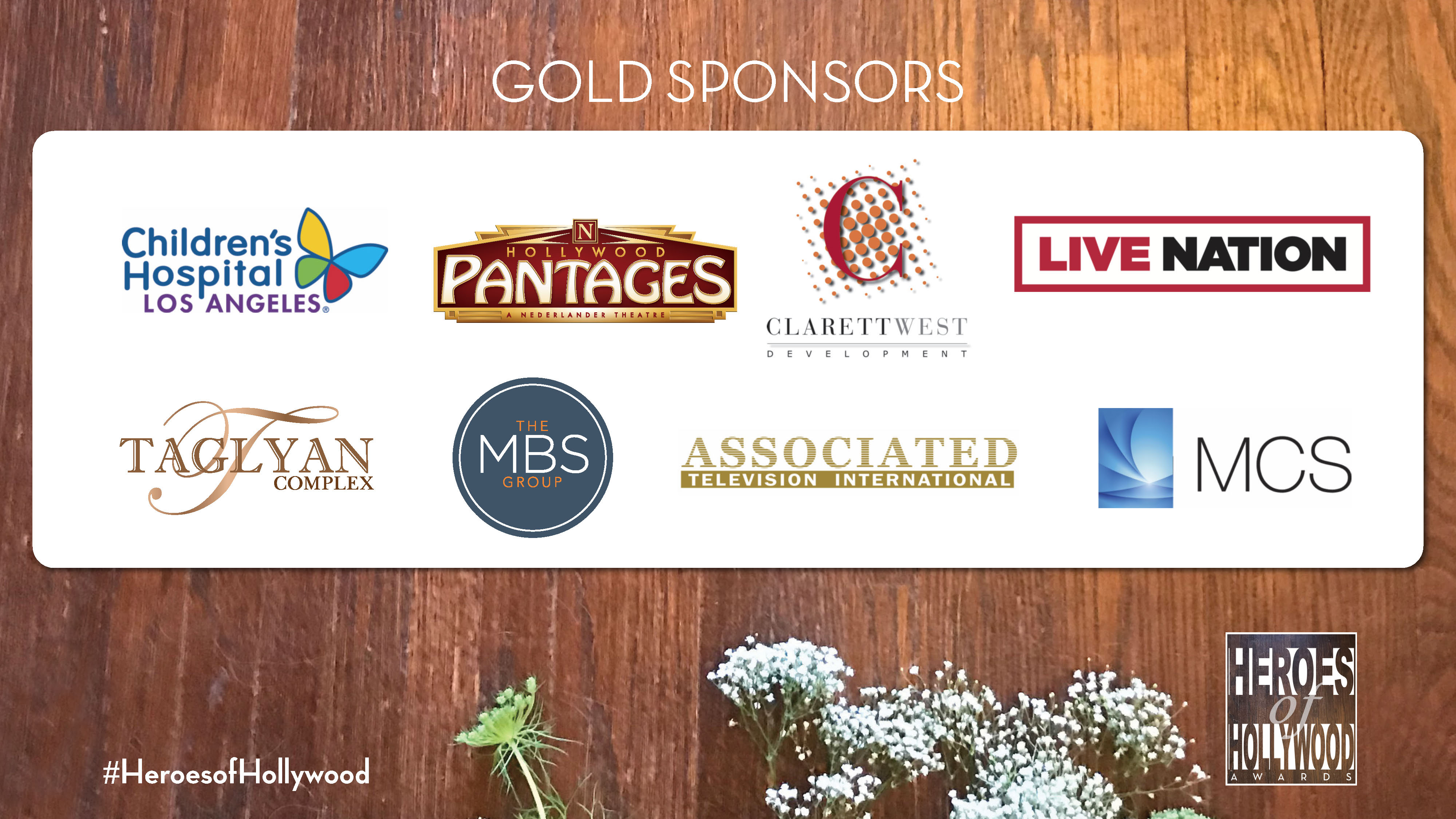 Gold Level sponsors of Heroes of Hollywood 2018