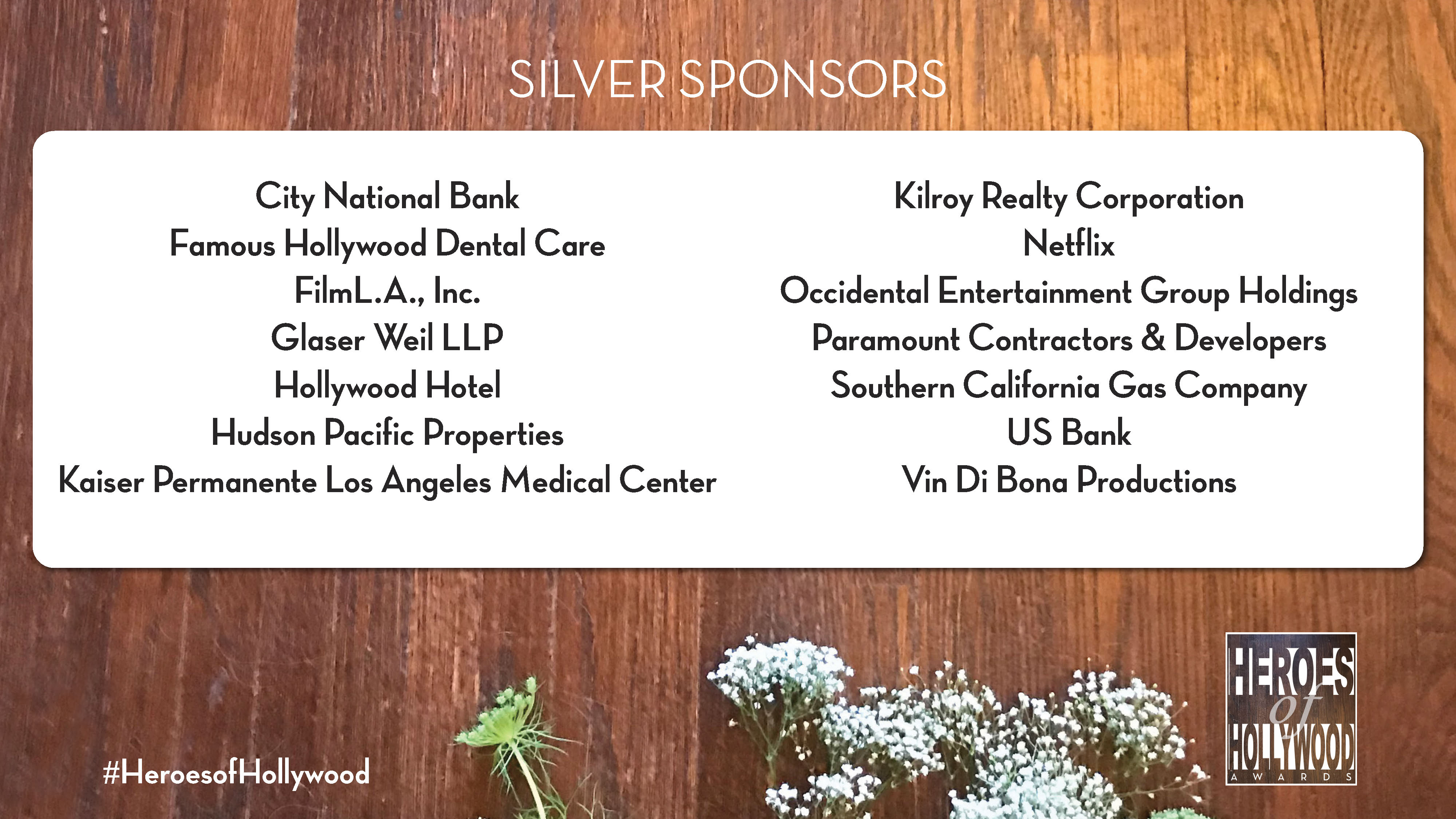 Silver Level sponsors of Heroes of Hollywood 2018