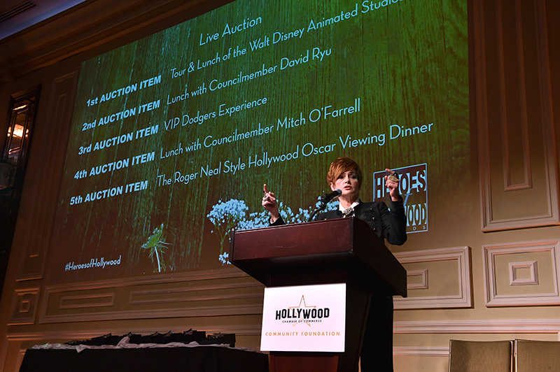 Carolyn Hennesy, auctioneer for Heroes of Hollywood 2018
